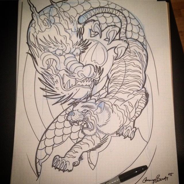 ескіз татуювання дракона і тигра