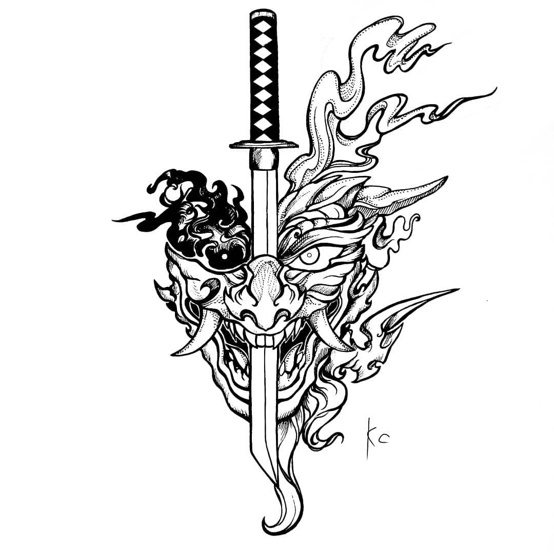 эскиз японской татуировки дракона и катаны