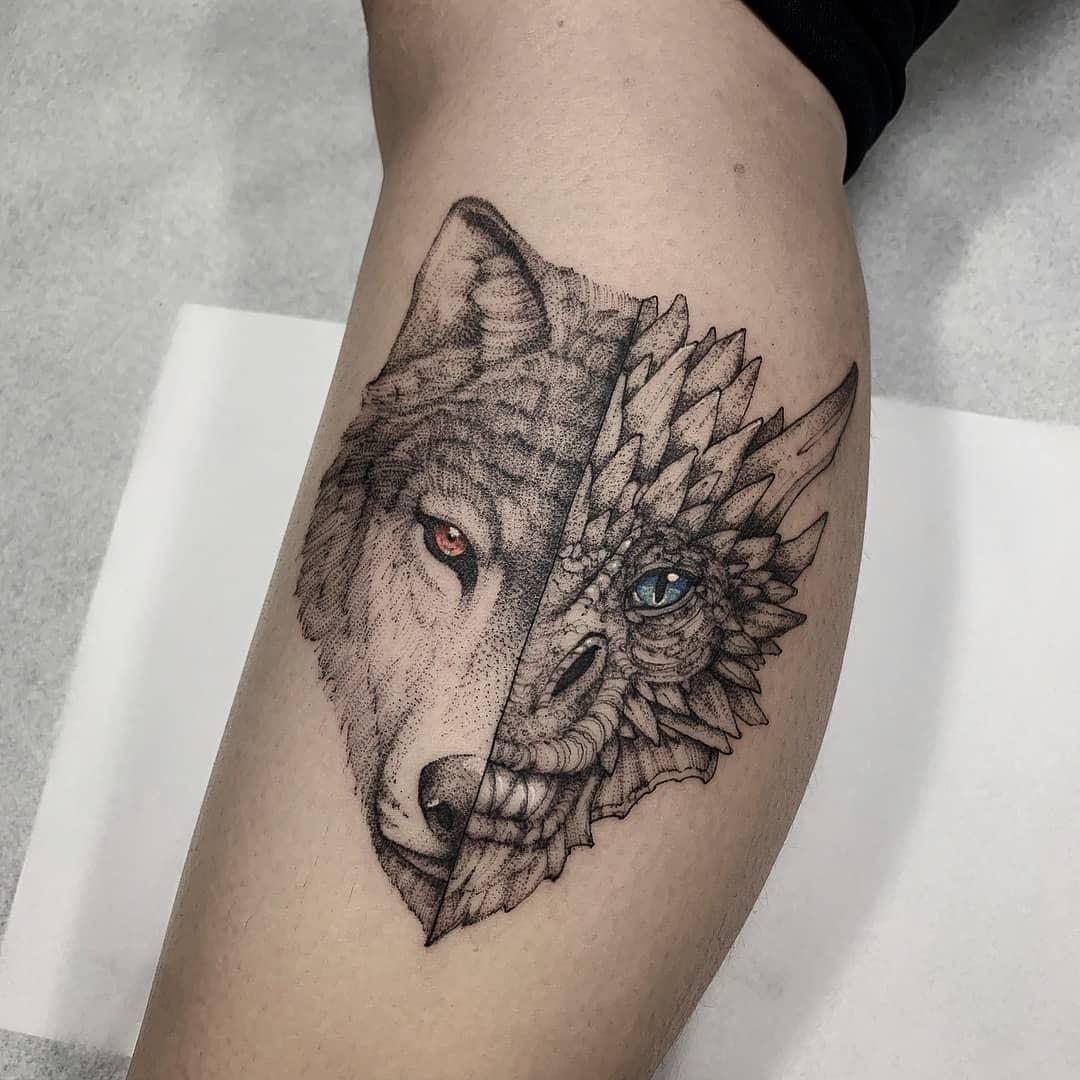 татуировка дракона и волка