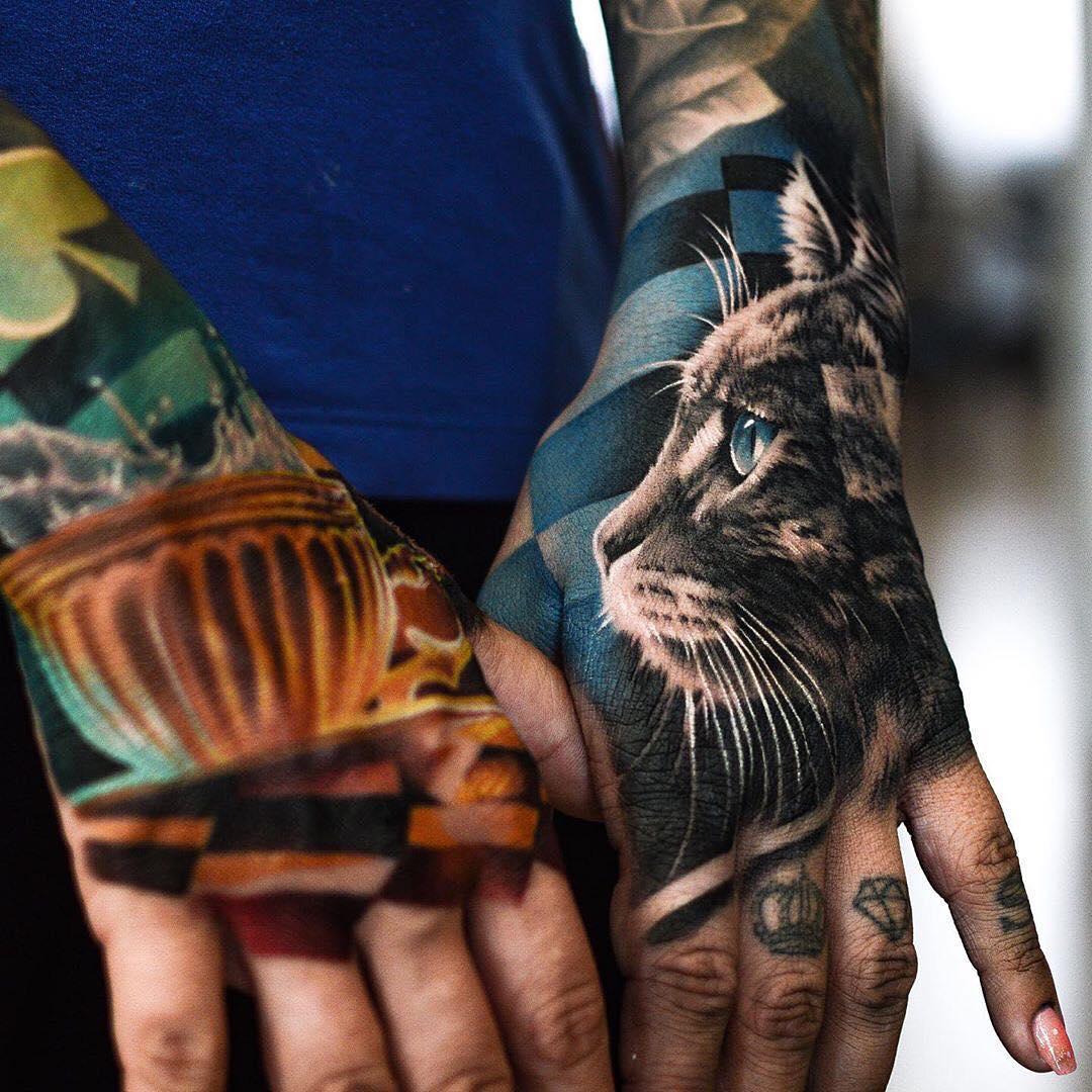 реалистичная татуировка кота