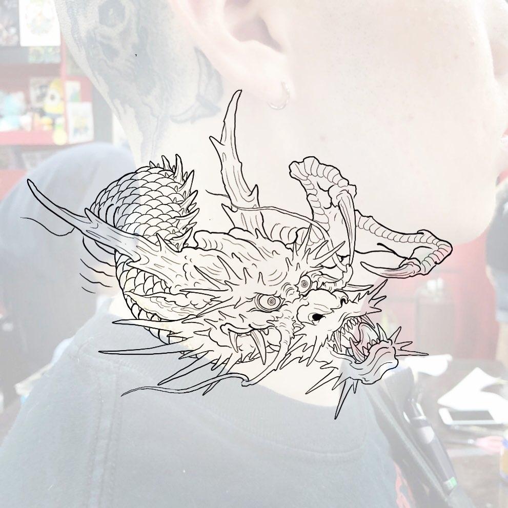 ескіз гарчащого дракона