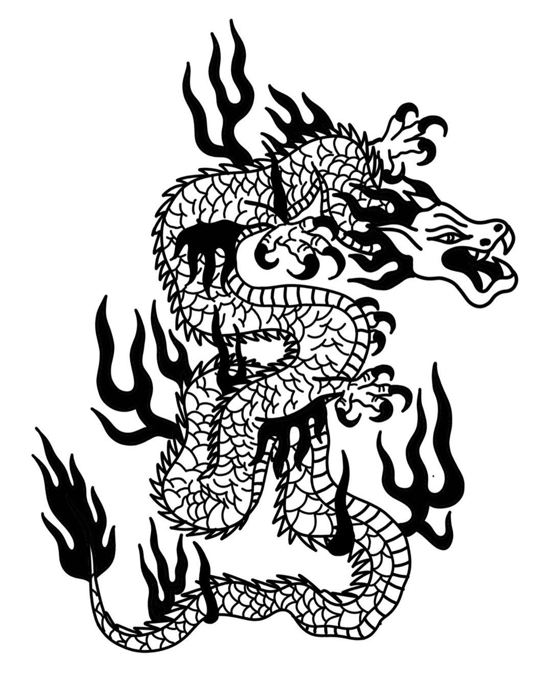 эскиз дракона у огне