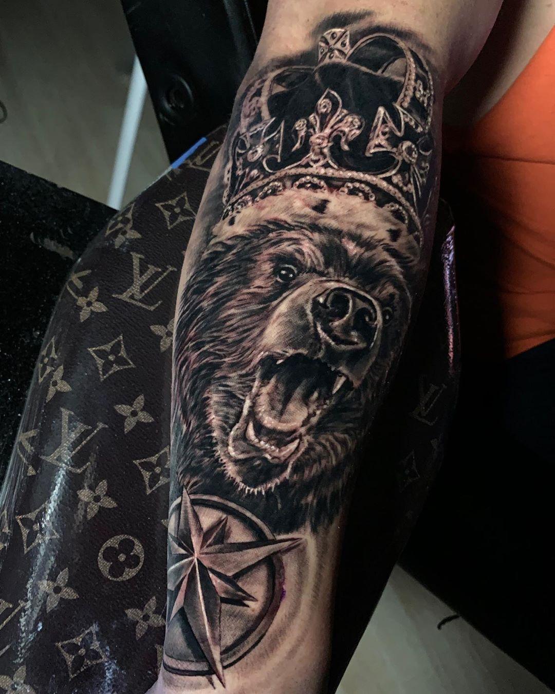 Тату медведь: 119 фото татуировки, эскизы, значение