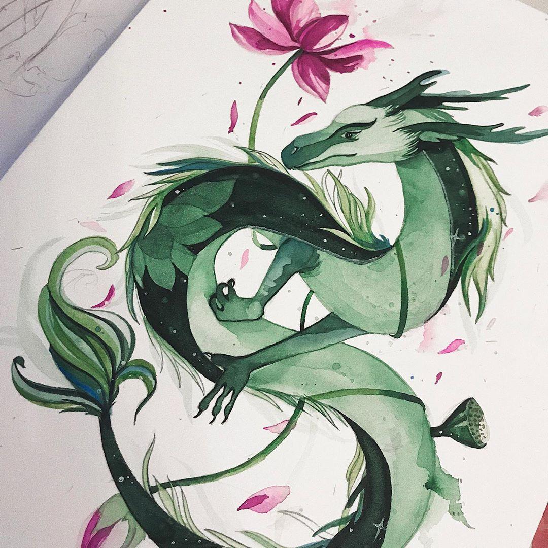 эскиз татуировки зеленого дракона