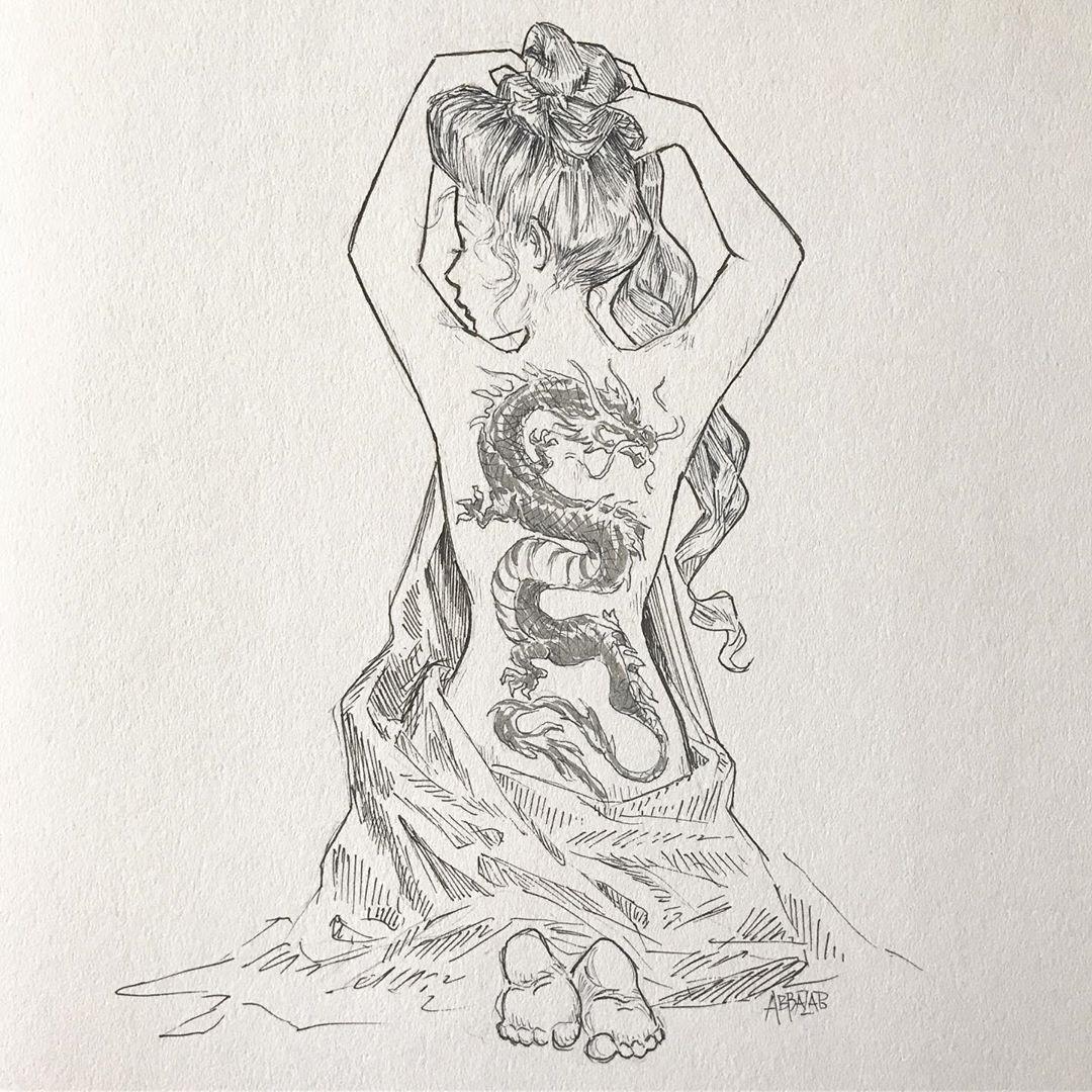 эскиз татуировки дракона и девушки