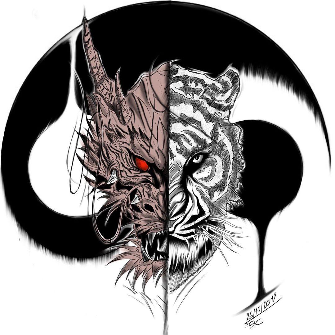эскиз татуировки дракона и тигра