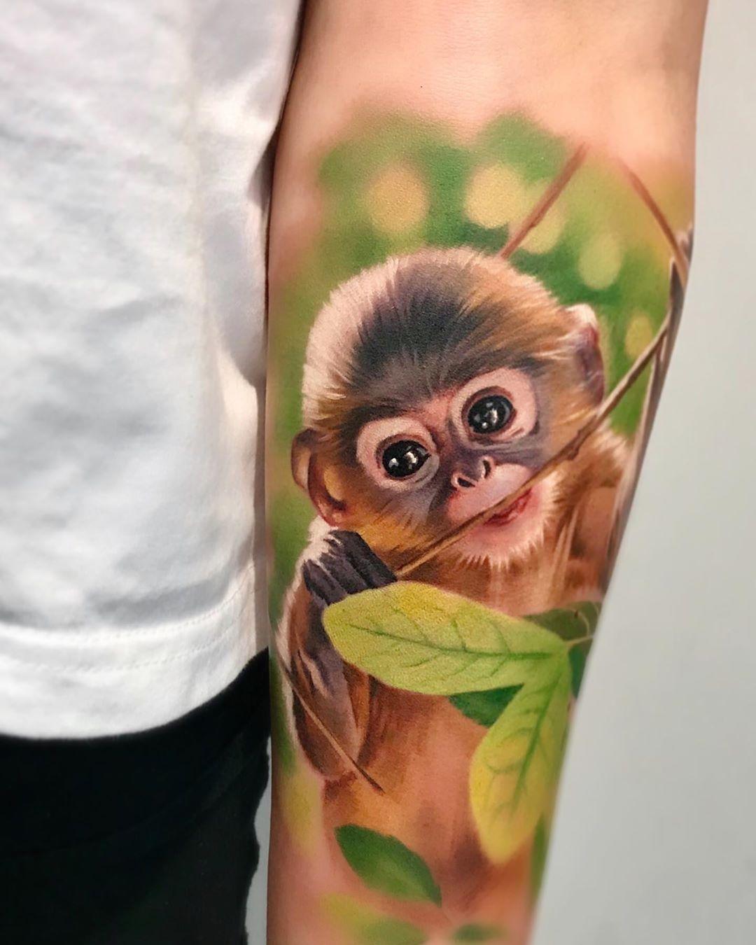 акварельная татуировка обезьяны