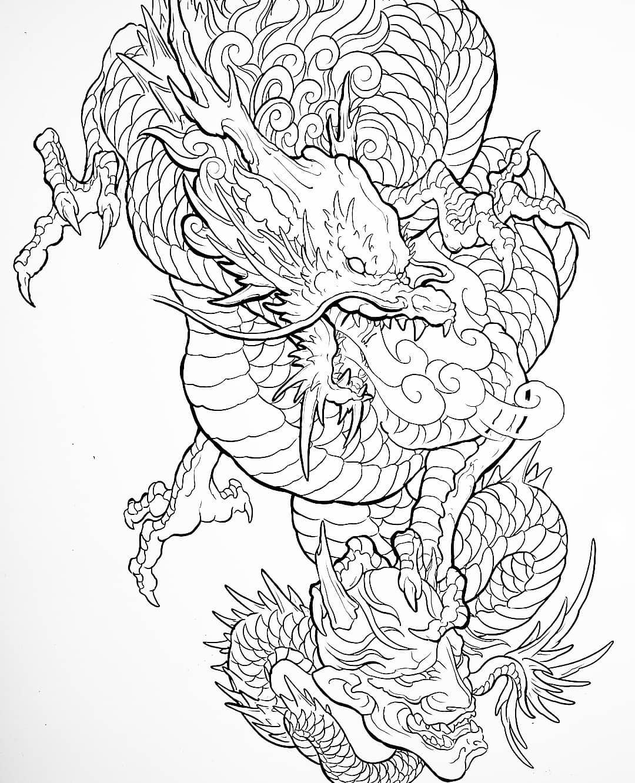эскиз дракона и маски в японском стиле