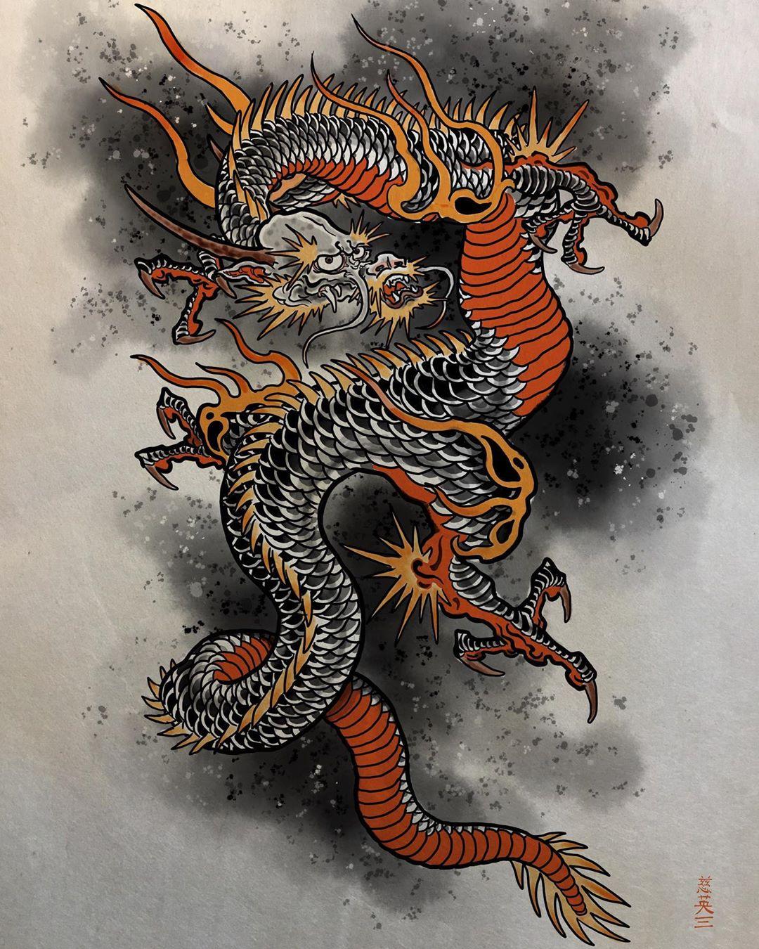 эскиз красочного дракона