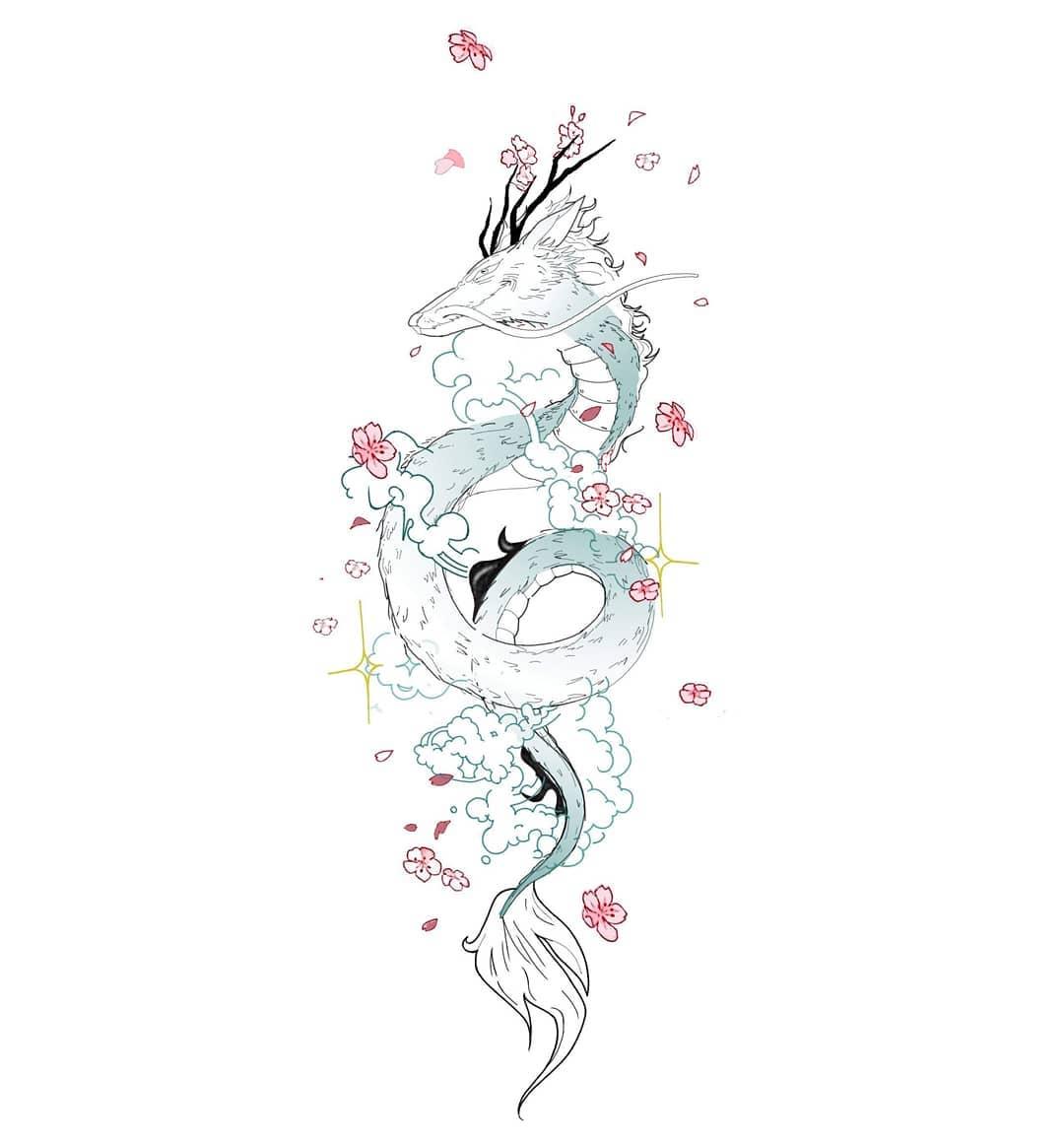 татуювання милого дракона
