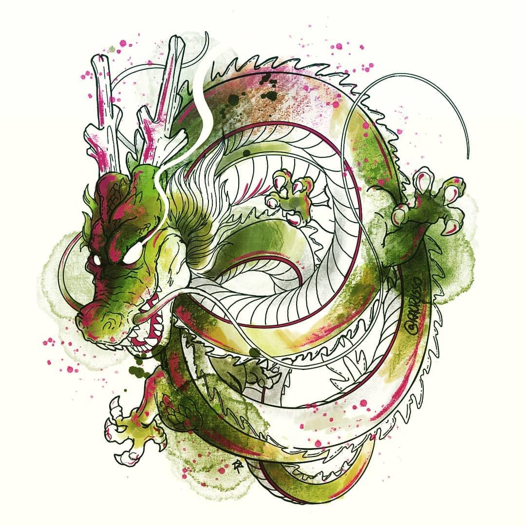 эскиз зеленого дракона