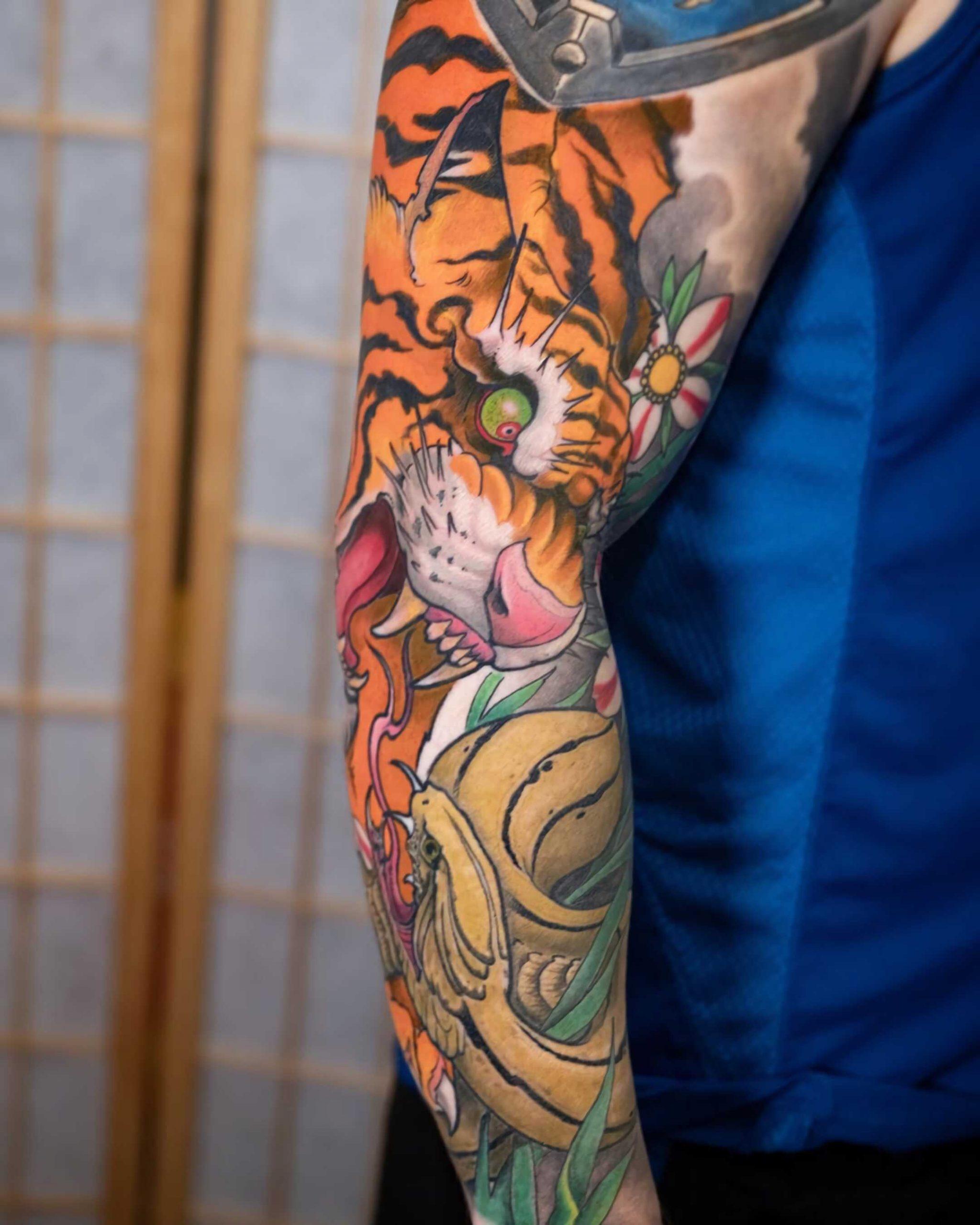 татуировка тигра в японском стиле