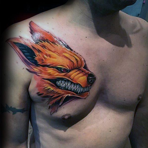 реалістичне татуювання лисиці на грудях