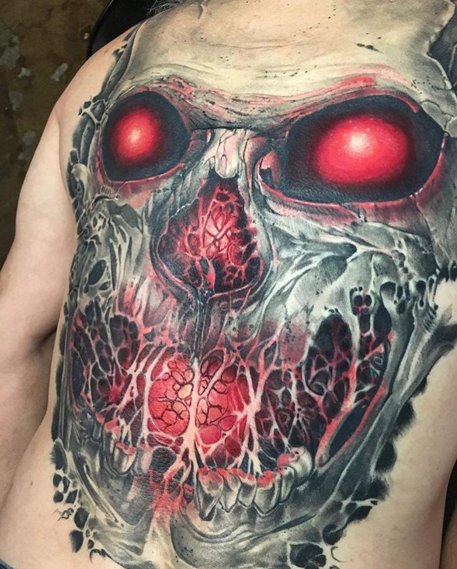 татуировка черепа на спине