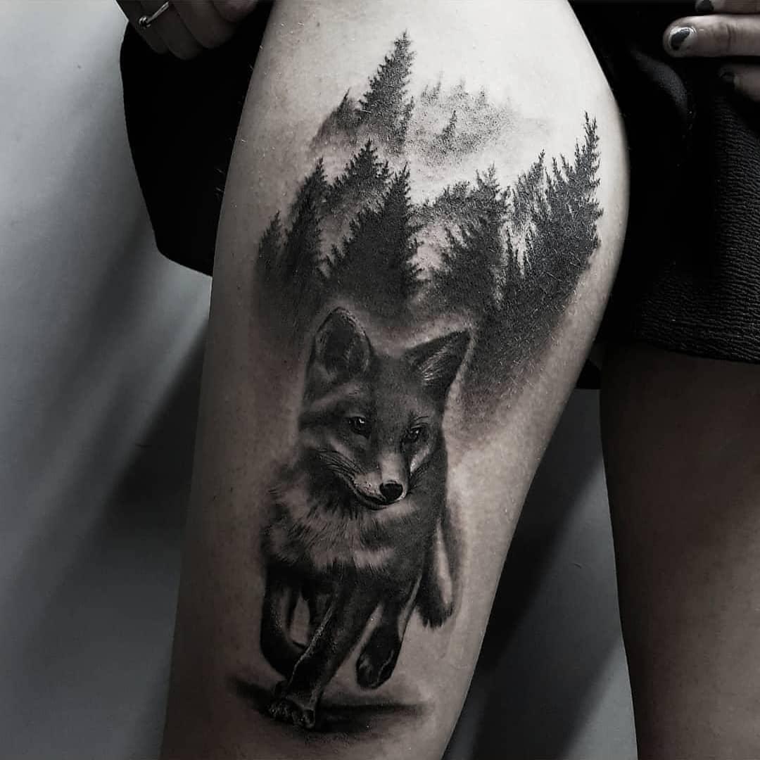 татуювання лісу і лисиці
