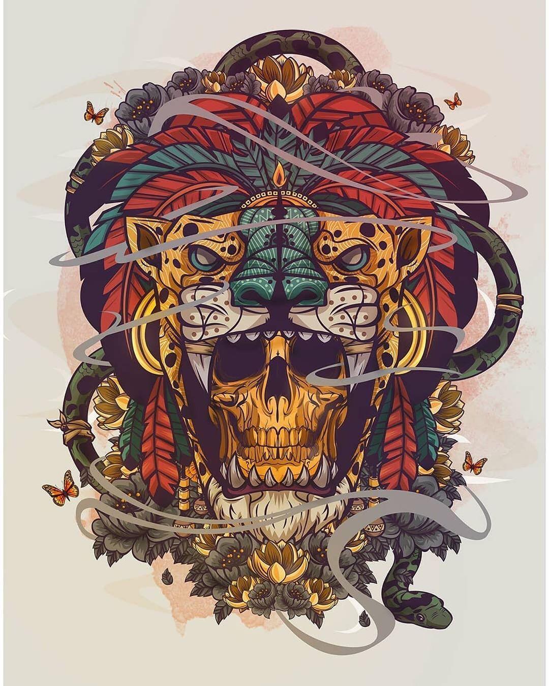 ескіз татуювання черепа