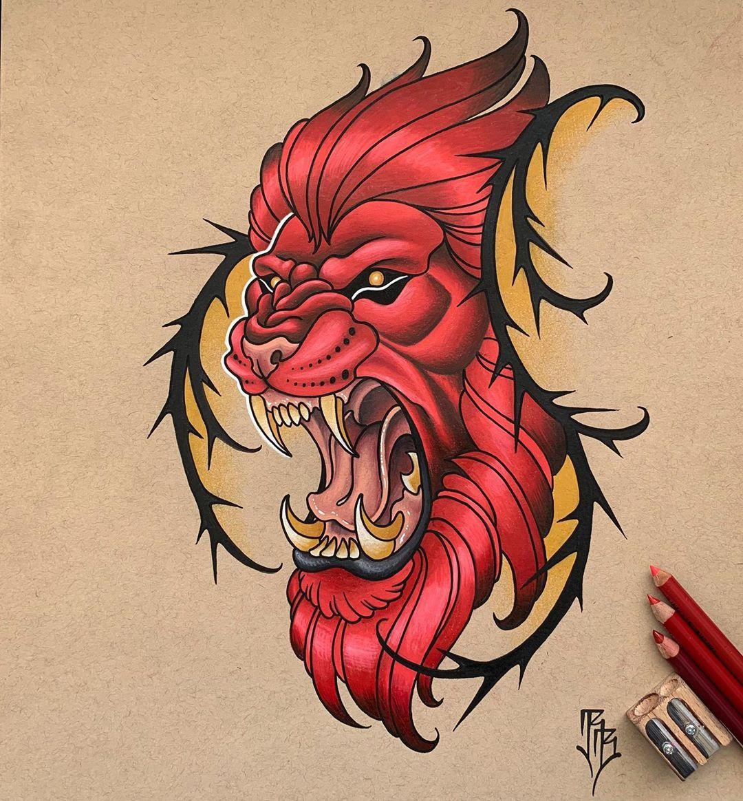 ескіз лева в японському стилі