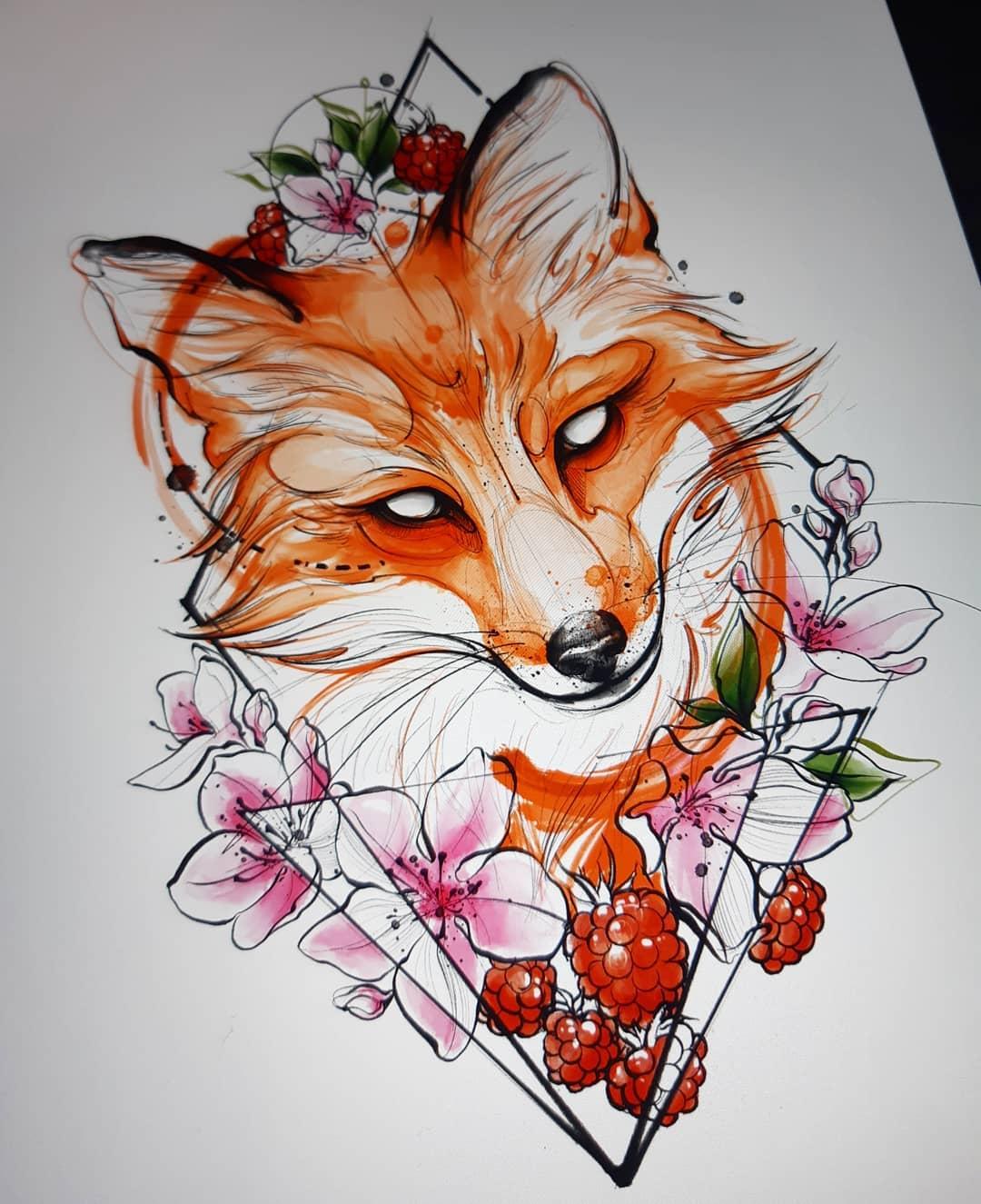 ескіз барвистої рудої лисиці