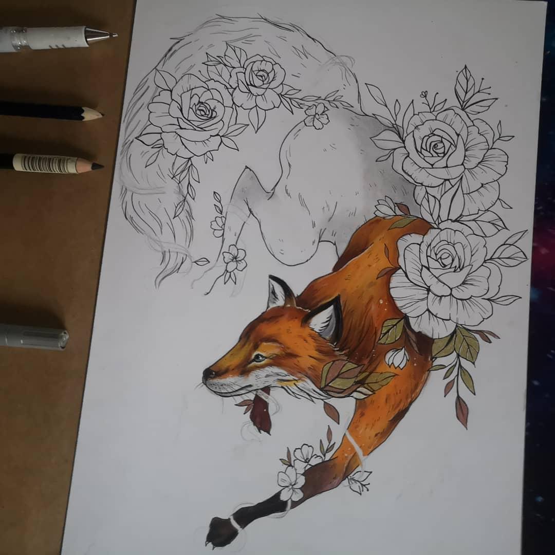 ескіз тату лисиці і квітів