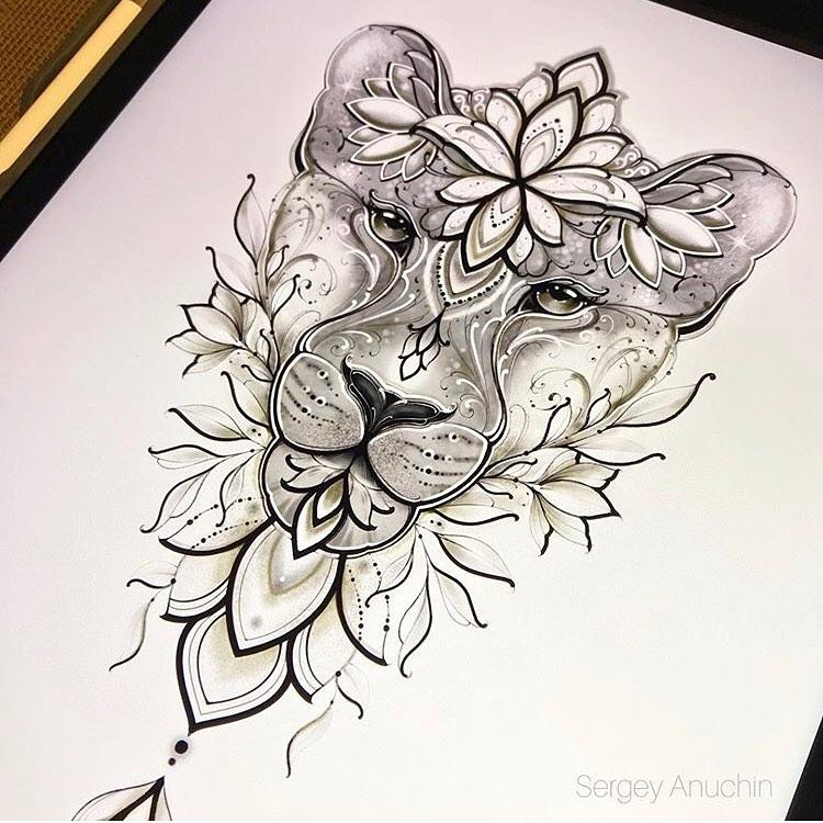 ескіз левиці і квітів
