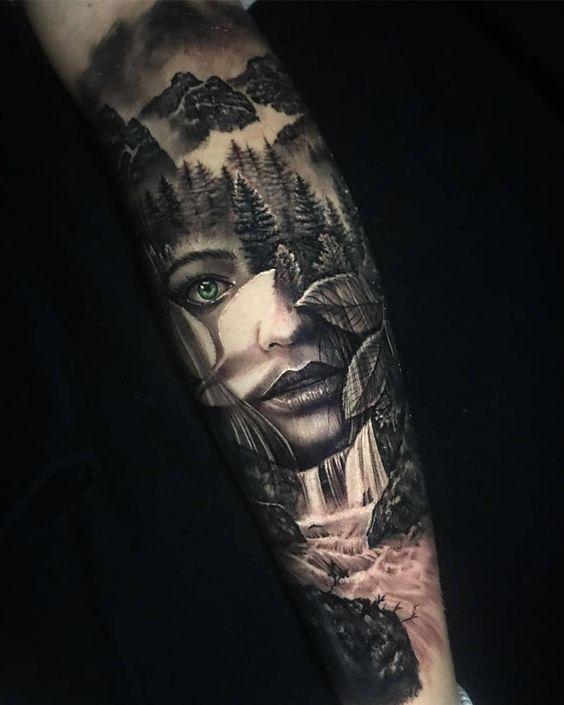 татуировка объемного рукава для мужчин