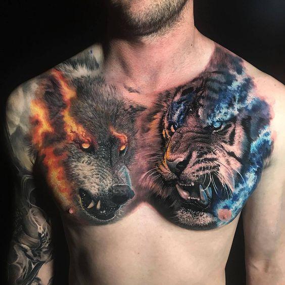 татуювання вовка і тигра на грудях