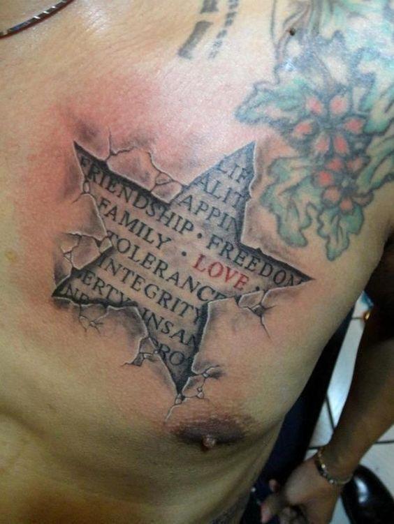 татуювання зірки і цитати на грудях