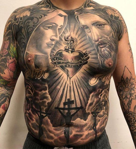 тату трех крестов на животе