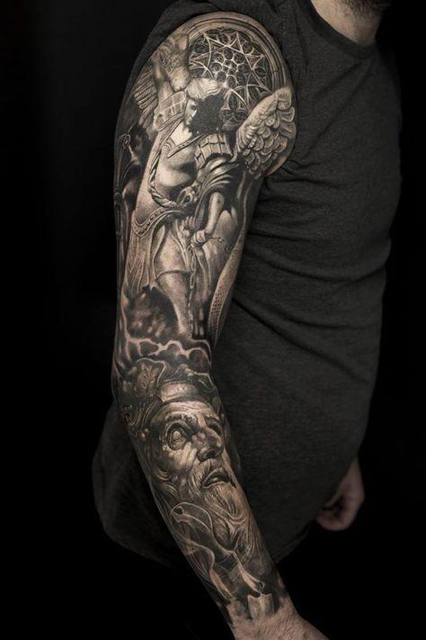 Татуировка рукава с ангелом