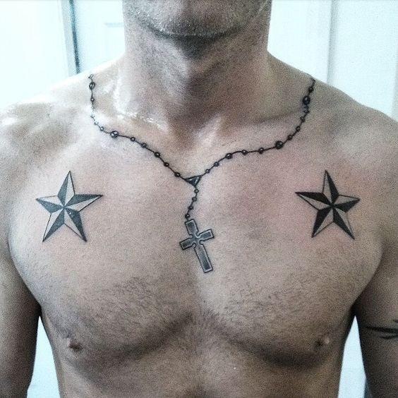 тату з хрестом і звездами