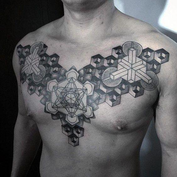 тату геометрія на грудях