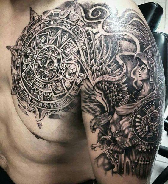 чоловіче татуювання ацтеків на передпліччя