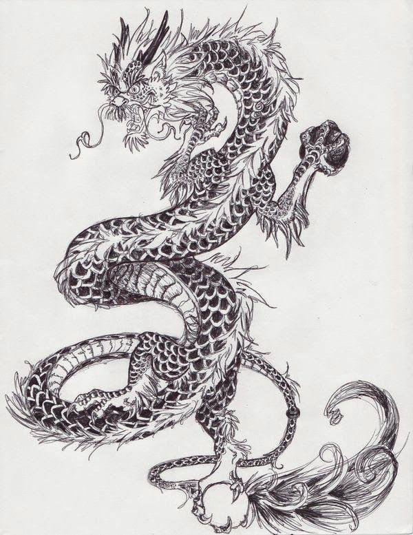 эскиз тату китайского дракона