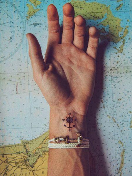 маленькая татуировка компаса на запястье