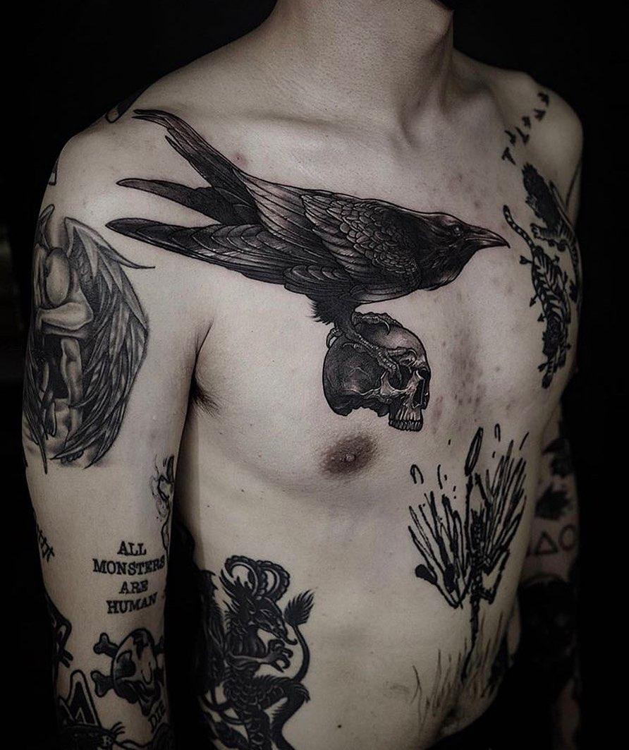модні татуювання в стилі блекворк