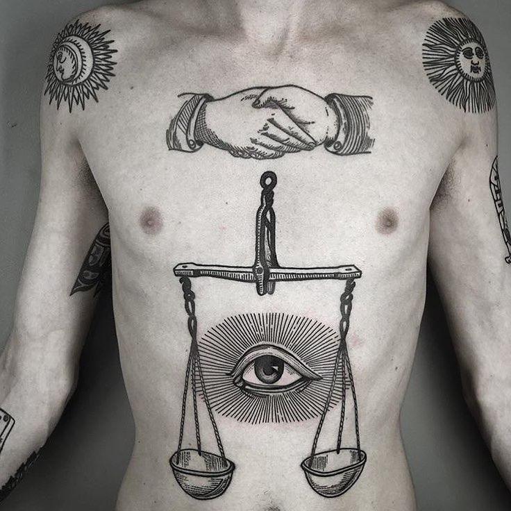 різні татуювання в стилі блекворк