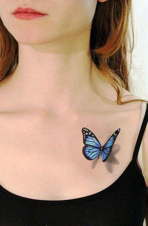 женская 3д татуировка бабочки