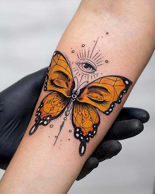 красивая женская татуировка бабочки на руке