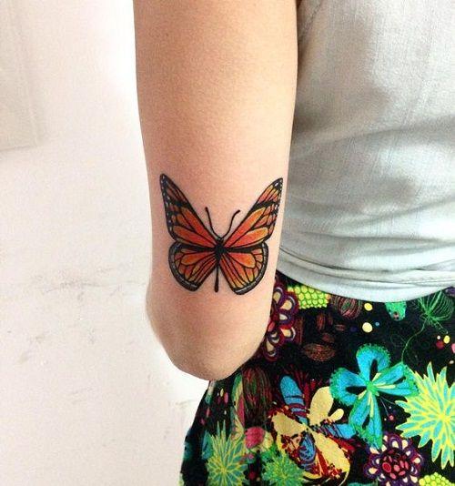 тату оранжевого метелика