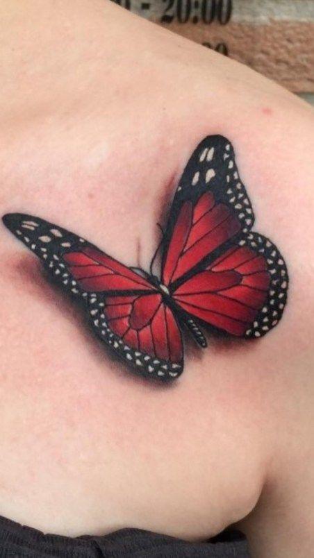 татуировка красной бабочки