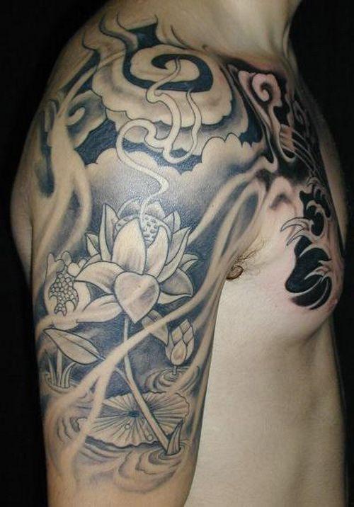 татуювання білого лотоса на передпліччі