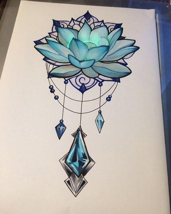 ескіз модного татуювання лотоса