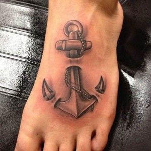 тривимірне татуювання якоря на нозі