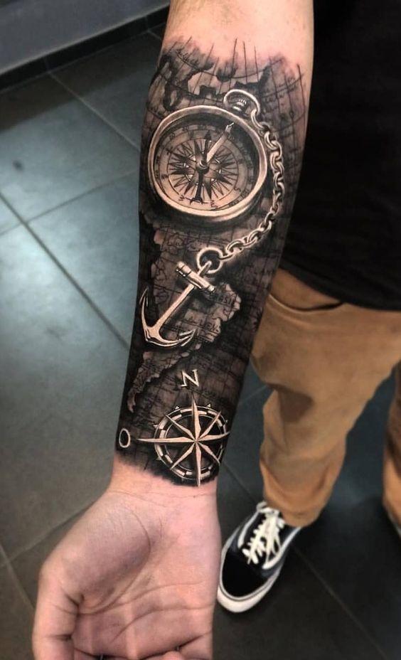 3д татуювання компаса з якорем