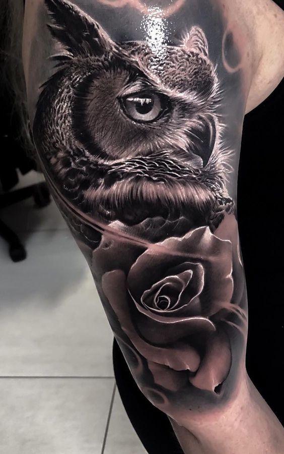 3д тату сови з трояндою