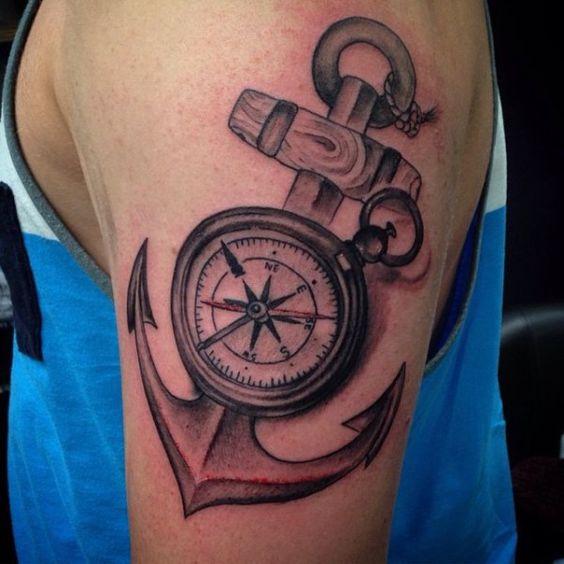 татуировка якоря с компасом на предплечье