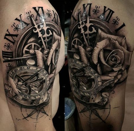 религиозная татуировка с компасом