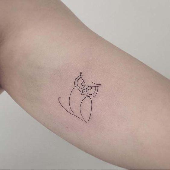 просте татуювання сови
