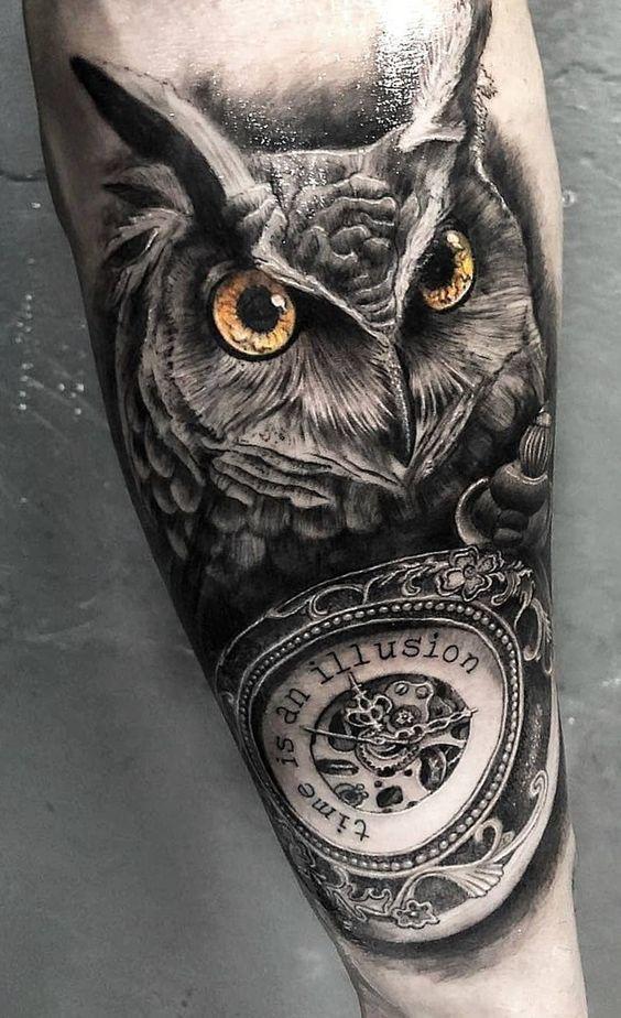 тату сови і годинника на руці