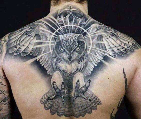 тату летючої сови на спині
